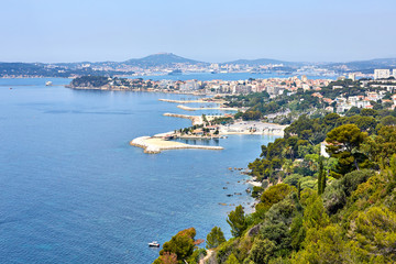 view of the port of Toulon, seyne-sur-mer and seaside of rade de