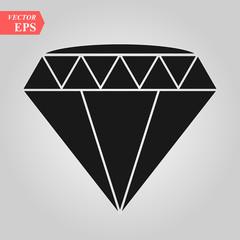 Black diamond icon vector illustration. white background