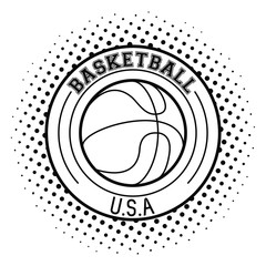 USA basketball ball round emblem vector illustration graphic design