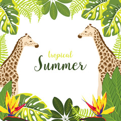 background with giraffe and plants