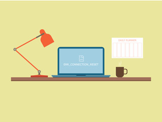 Flat style work table with notebook with error notification on the screen, lamp and coffee mug. Daily planner hangs on the wall near table. Vector illustration.