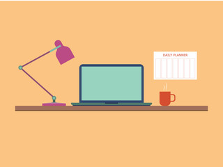Flat style work table with notebook, lamp and coffee mug. Daily planner hangs on the wall near table. Vector illustration.