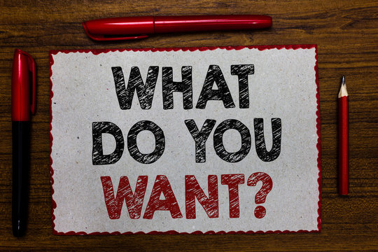 Text sign showing What Do You Want question. Conceptual photo Tell me your desires requests demands ambition Red bordered white page centered some texts wooden desk pen pencil.