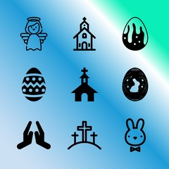 Vector icon set about easter with 9 icons related to belief, celebration, hole, animal, skyscraper, simple, icon, heaven, brown and ca