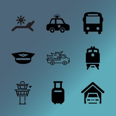 Vector icon set about transport with 9 icons related to bag, abstract, control, art, tool, ship, connection, indoor, wait and lorry