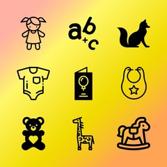 Vector icon set about baby with 9 icons related to cat, fur, diddy, brown, folk, teddy, element, romantic, icon and silicone