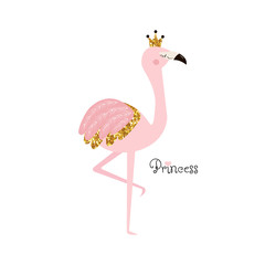 Flamingo princess with lettering and gold glitter crown. Vector hand drawn illustration.