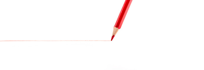 red pencil on a white background