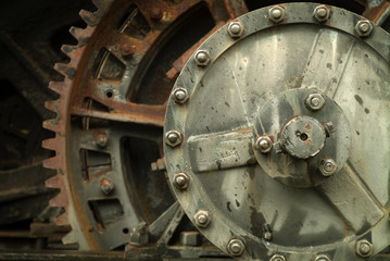 Detail of Old Rusted Gears and Machinery.  A graphic and closeup look at some old dilapidated industrial machinery.