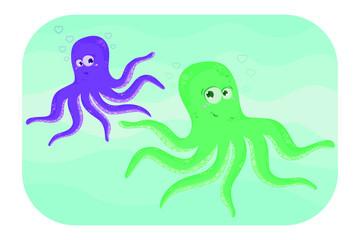 Octupus. Two funny cartoon octopus. Vector illustation.