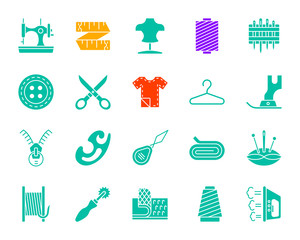 Sewing color silhouette icons vector set