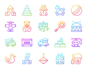 Baby Toy simple color line icons vector set