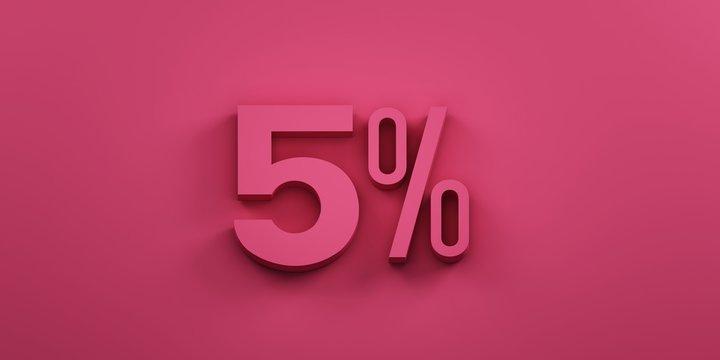 5 percent discount. 3D Render Illustration