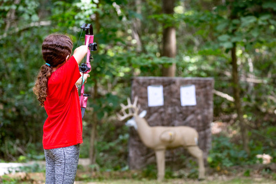 Girl Practicing Archery and Hunting Skills