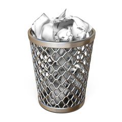 Metal trash bin, full of crumpled paper 3D