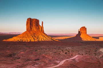 Monument Valley at sunset, Arizona, USA