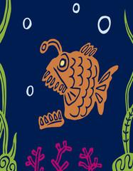 Cartoon carnivorous predatory fat fish. Vector graphics.