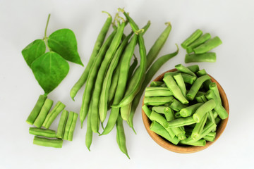 Top view of fresh green beans