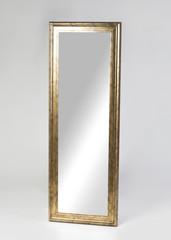 Large golden framed mirror isolated on white background