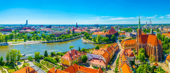 Aerial view of Wroclaw with church of our lady of the sand and church of the Holy Cross and St Bartholomew, Poland