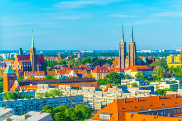Aerial view of Church of the Holy Cross and St Bartholomew and cathedral of saint john the baptist in Wroclaw, Poland
