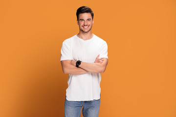 Photo of handsome smiling man. Wall mural