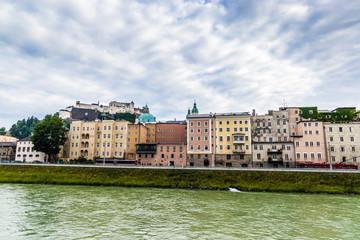 Foto auf AluDibond Rotterdam Salzburg city and Salzach river