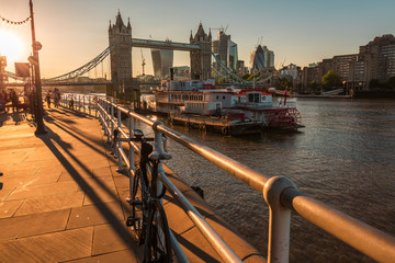 the famous tower bridge at sunset