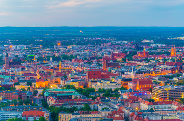 Sunset aerial view of central Wroclaw, Poland