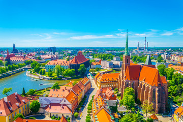 Aerial view of Wroclaw with church of our lady of the sand and church of the Holy Cross and St Bartholomew, Poland Wall mural