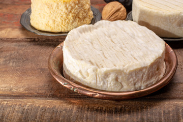 Camembert, moist, soft, creamy, surface-ripened cow's milk cheese made in Normandy, northern France.