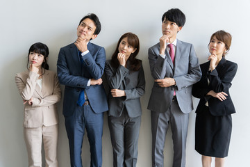 portrait of asian business group on white background