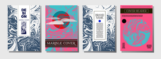 Minimal Cover Templates Set. Marble Business Poster. Vivid Pink, Blue Turquoise Invitation Spring Background. Geometric Corporate Minimal Cover Templates. Cool Ebru Liquid Paint Ads Marble Texture.