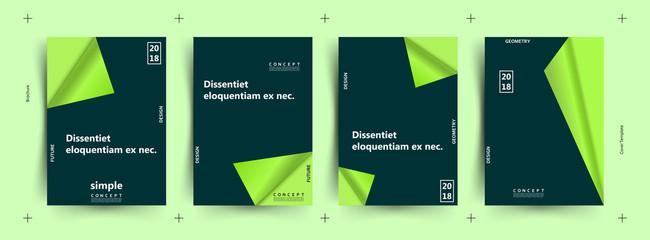Brochure creative design. Green paper page. Trendy minimalist flat geometric design. Vertical a4 format.