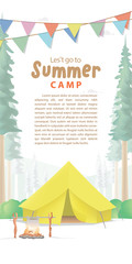 Summer Camp Poster or banner that the yellow camp is middle in the forest background and flag illustration vector. Camping concept.