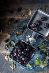 blackberries on metal scale on rustic table with leaves and dark marble