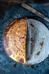 sliced top view of round marble cake swirl in chocolate and vanilla
