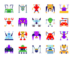 Robot simple flat color icons vector set