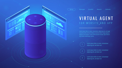 Isometric smart speaker with title virtual agent landing page. Voice activated digital assistants for websites and mobile applications concept. Blue violet background. Vector 3d illustration