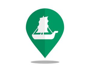 sail vehicle marker pin path image vector icon logo