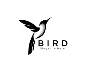 elegant art hummingbird fly logo