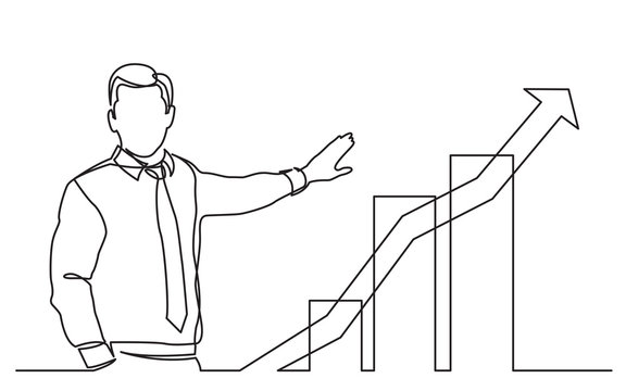 continuous line drawing of business presentation - businessman showing growing graph
