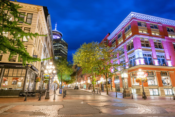 Vancouver's Gastown District at Blue Hour Fotomurales