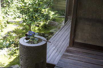 classic wooden Japanese house's hall way with Tatami mat for the floor