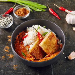 Hot Spicy Crispy Fried Chicken Fillet with Curry and Rice on Dark Background