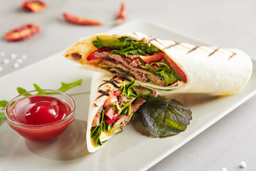 Meat Shaverma, Gyro or Doner Kebab with Vegetables