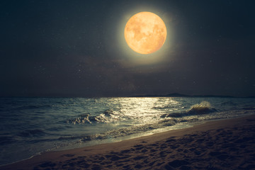 Wall Mural - Beautiful fantasy tropical sea beach. Full moon (super moon) with star over seascape in night skies. Serenity nature background at nighttime. vintage and retro color filter style.