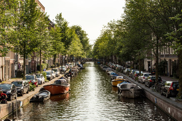 Amsterdam canals and boats