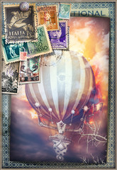 Foto op Canvas Imagination Hot air balloon in the sunset of fire - old fashioned postcard