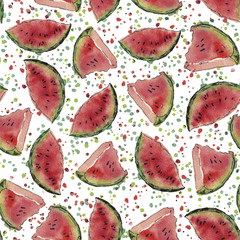 Watercolor watermelon patterrn